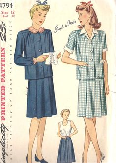 """1940s Misses Maternity Dress Vintage Sewing Pattern, Simplicity 4794 Bust 30"""" on Etsy, $22.00"""