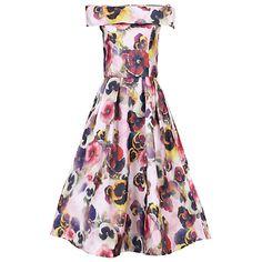 Buy Jolie Moi 3D Floral Print Bardot Dress, Pink Online at johnlewis.com