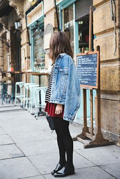 red skirt, stripes and denim jacket [ Find. Shop. Discover. www.specialteesboutique.com ]