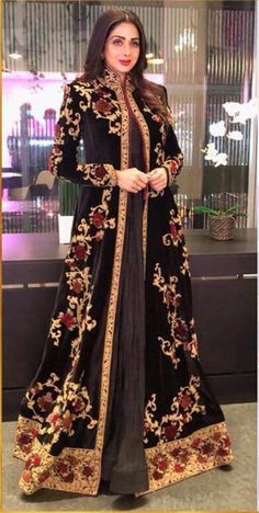 Sridevi takes Russia by storm in this elaborate ensemble, at the premiere of MOM Asian Wedding Dress, Pakistani Wedding Dresses, Muslimah Wedding Dress, Bridal Dresses, Abaya Fashion, Indian Fashion, Lakme Fashion Week, Arabic Dress, Velvet Jacket