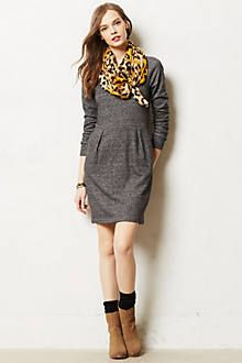 gray dress, leopard scarf, brown booties #casual