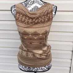 ☀️Ralph Lauren Sleeveless Shirt☀️ Dressy sleeveless top. Aztec pattern. Ribbed in front. Perfect with slacks or pair it with dark denim  made of: 85% silk, 15% silk, 15% wool Ralph Lauren Tops Tank Tops