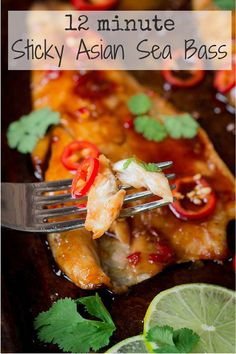 12 minute sticky Asian Sea Bass - Soft, flaky fish with a sweet and spicy flavour kick.