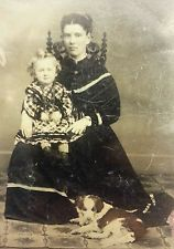 ANTIQUE VICTORIAN AMERICAN BEAUTY MOTHER DAUGHTER DOG POSE SPANIEL TINTYPE PHOTO