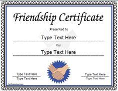 Special Certificate - Friendship Certificate |  CertificateStreet.com