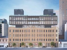Morris Adjmi to Transform High Line-Adjacent Warehouse Into Office Building in New York, © Morris Adjmi Architects Facade Architecture, School Architecture, Manhattan Times Square, Lower Manhattan, Minecraft City Buildings, Office Buildings, Little Italy New York, Minecraft Modern, Roof Extension