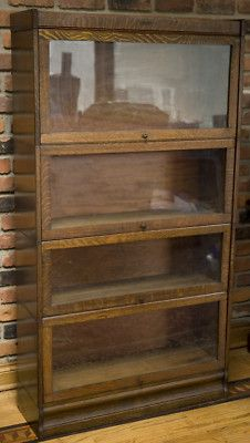 Antique Oak Lundstrom 4 Section Barrister Bookcase Set Of Two