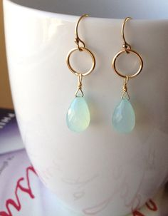 seaglass green chalcedony briolette and gold hoop by KKSparkles