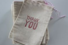 12 x Hand Stamped Pink Thank You Cotton Muslin Party Favour Bags - other colours available approx 5x7 inches (12.75x17.75 cm) in size