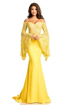 Johnathan Kayne - 7244 Bell Sleeve Off-Shoulder Lace Gown in Yellow and Neutral Prom Dresses With Sleeves, Strapless Dress Formal, Formal Dresses, Evening Gowns With Sleeves, Lace Evening Gowns, Formal Wear, Outfit Trends, Outfit Jeans, Pageant Dresses
