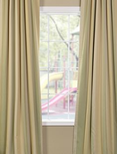 Pistachio Stripe Blackout Back-Tab Pole Pocket Curtain