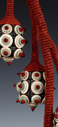 """Bell Flower and Buds"" detail, contemporary basketry by JoAnne Russo -- 21"" x 7"" x 8"" www.joannerusso.com #finecraft"