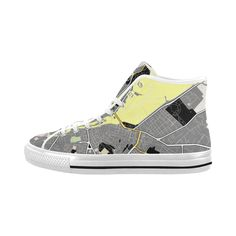 Sneakers, baskets grey and yellow .Map of Geneva . Men's Shoes (Large Size)