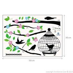 Arbre Fleuri Et Cage Oiseaux - Stickers Muraux Nature