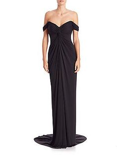 David Meister Draped Jersey Off-The-Shoulder Gown