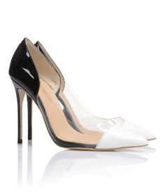 Shoes: 'Roma' Black and White Patent Leather with Clear PVC Panel Pointy Pumps