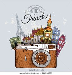 Travel photo background with retro camera and landmarks cards vector illustratio. Travel photo background with retro camera and landmarks cards vector illustration Background Retro, Photo Voyage, Travel Drawing, Travel Wallpaper, Travel Illustration, Travel Aesthetic, Photo Backgrounds, Italy Travel, Travel Europe