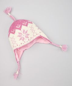 Love this Pink Snowflake Earflap Beanie by Everest Designs on #zulily! #zulilyfinds