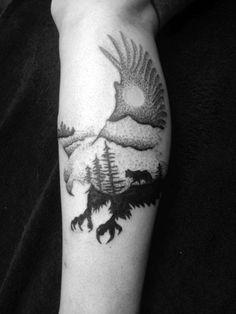 Dot Style Eagle & Trees Tattoo by Madlen Leg Tattoo, Black