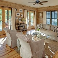 natural stained pine walls & floors / Tracery Interiors