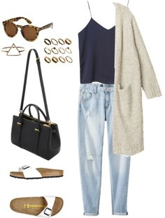 Untitled #124 by alejandrao62 featuring skinny jeansMonki white cardigan, $69 / Monki top, $35 / Mossimo skinny jeans / Birkenstock sandals / Mulberry black purse / Gold jewelry, $485 / ASOS ring, $25 / Forever 21 round sunglasses