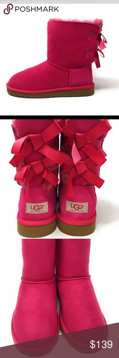 """UGG Australia Girls Bailey Bow Cerise Boot Size 5 Brand new in box!  NIB UGG Australia Girls Bailey Bow Cerise Boot Size 5 100% Authentic  Sheepskin Pieced Natural Sheep, Fur Origin: China Shaft measures approximately 6"""" from arch Platform measures approximately 0.5 Boot opening measures approximately 12"""" around A light, flexible sole and plush twin face sheepskin keeps feet cozy and dry Durable Product UGG Shoes Boots"""