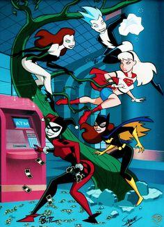 Buy Batman Animated Series Limited Edition Cel Girls Finest Batgirl Supergirl Harley at online store Batgirl, Supergirl, Bruce Timm, Dc Comics Art, Comics Girls, Cartoon Pics, Cartoon Art, Poison Ivy Cartoon, Harley Quinn Drawing