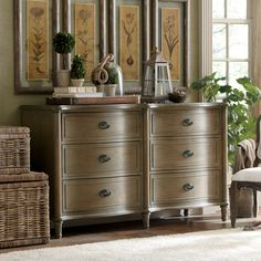 Watson Dresser | Perfect for stowing throws in the guest bedroom or sweaters in your master suite, this elegant 6-drawer dresser showcases bin-style pulls and a distressed oak wood finish.