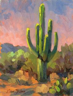 Desert Painting - Early Light by Diane McClary Cactus Painting, Cactus Art, Landscape Art, Landscape Paintings, Western Landscape, Desert Art, Guache, Southwest Art, Impressionism Art
