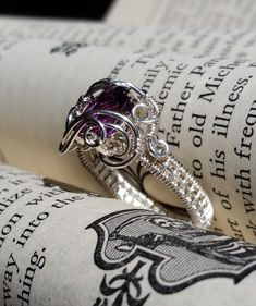 Sterling silver wire wrapped cushion cut Namibian Amethyst ring by Lepidus Plasmatio