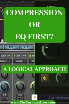 Determining whether to use EQ or Compression first can be a daunting task. This guide will give you a conceptual method to figure out the best needs for your song every time. Audio Music, Recorder Music, Electronic Music, Music Recording Studio, Home Studio Music, Radio Song, Soul Songs, Hip Hop Songs, Audio Engineer