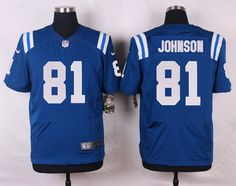 Men's NFL Indianapolis Colts #81 Andre Johnson Blue Elite Jersey
