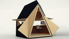 Designer Sheds Make For Less Depressing Cubicles  Working in a shed doesn't sound like an upgrade from a depressing cubicle. But the spired roof of this Tetra-Shed ...