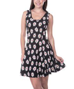 Black & White Daisy Fit & Flare Dress #zulily #zulilyfinds