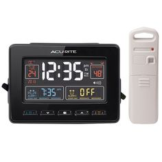 AcuRite Atomic Dual Alarm Clock with USB Charging & Temperature 13022  Features:  Illuminated color display with outdoor and indoor temperature.   Atomic clock and calendar, and two alarms.  USB charging for compatible smartphones.   Dual, programmable alarms can be set for everyday use, weekdays or weekends only.  $49.99 at AcuRite.com
