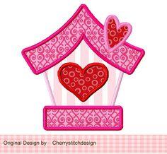 Sweet Bird House Applique 4x4 5x7 by CherryStitchDesign on Etsy, $2.99