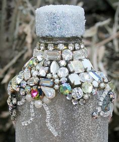 Bejewelled Rhinestones Vintage Bottle   Winter by ASoulfulJourney, $145.00
