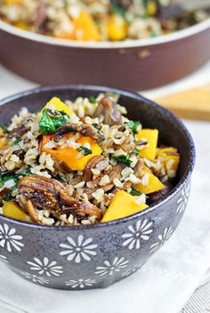 Wild Rice with Butternut Squash, Spinach, and Figs | Easy Vegetarian Recipe
