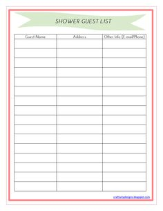 Exceptional image regarding free printable baby shower guest list