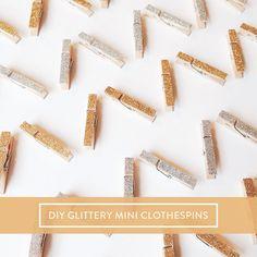 diy glittery mini clothespins