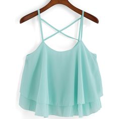Spaghetti Strap Chiffon Cami Top (€7,92) ❤ liked on Polyvore featuring tops, tank tops, green, spaghetti strap camisole, spaghetti-strap tank tops, chiffon top, camisoles & tank tops and cami tank tops