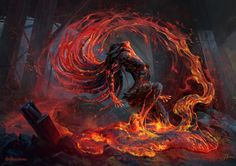 """Volcanic Risi by Alexandre Mokhov Illustration for the card game """"Mythgard"""" … Volcanic Risi by Alexandre Mokhov Illustration for the card game """"Mythgard"""" by Rhino Games Dark Fantasy Art, Artwork Fantasy, Dark Art, Fantasy Blade, Arte Horror, Fantasy Inspiration, Fantasy Creatures, Fantasy Characters, Character Illustration"""