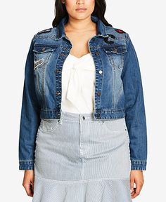 City Chic Trendy Plus Size Cotton Patch Cropped Denim Jacket - Jackets - Women - Macy's