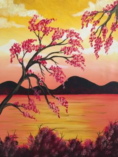 Sehen Sie sich Paint and Sip Artwork an – Pinot's Palette - Malerei Kunst Cool Paintings, Beautiful Paintings, Landscape Paintings, Cherry Blossom Painting, Cherry Blossoms, Wine Painting, Paint And Sip, Paint Party, Pictures To Paint
