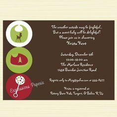 christmas baby items shower invitation
