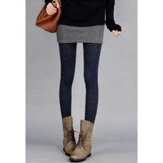 $9.48 Casual Fluffy Thicken Polka Dots Warm Good Quality Skinny Woolen Blend Legging For Women