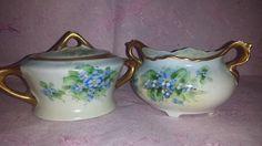 Vintage Ohio Blue Forget Me Nots Creamer Set,  Blue Flower Creamer Set, Luster Finish, Made in USA, Sugar Bowl with Lid, Gold Gilt by JunkYardBlonde on Etsy