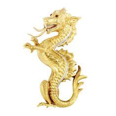18k Gold, Diamond and Cabochon Ruby Sea Dragon Brooch