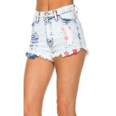 Light Wash American Flag Destructed Denim Shorts ($30) ❤ liked on Polyvore