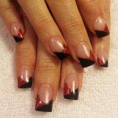 Black and red gel nails